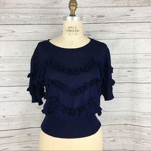 Lucy Paris ruffle tiered stretch knit blouse